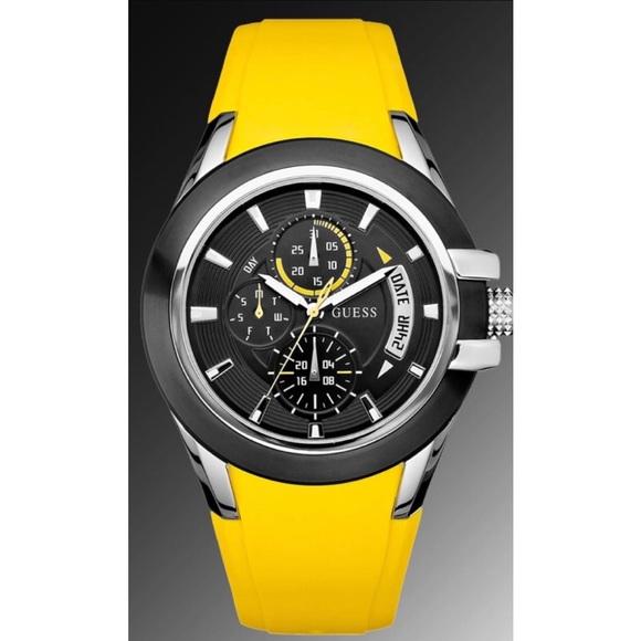 9a504deb6 Guess Accessories | Mens Watch Yellow Silicone Strap U10575g5 | Poshmark